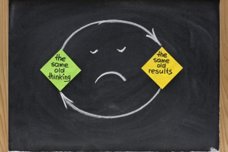 the same old thinking and disappointing results, closed loop or negative feedback mindset concept presented on blackboard with colorful sticky notes, white chalk