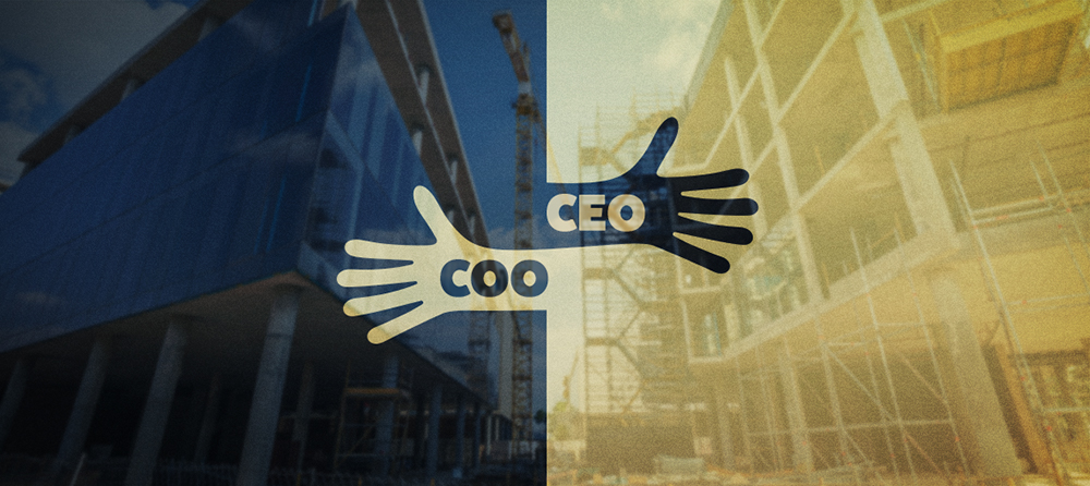 CEO and COO illustration of hands joining with a construction site overlay on the background