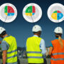 back view of five construction workers with a disc profile dot pointing at each of them.