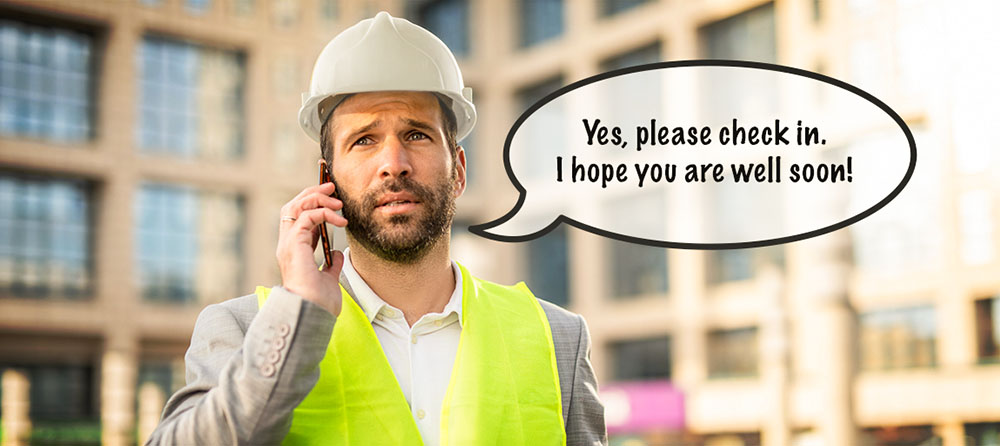 worried construction executive on the phone saying