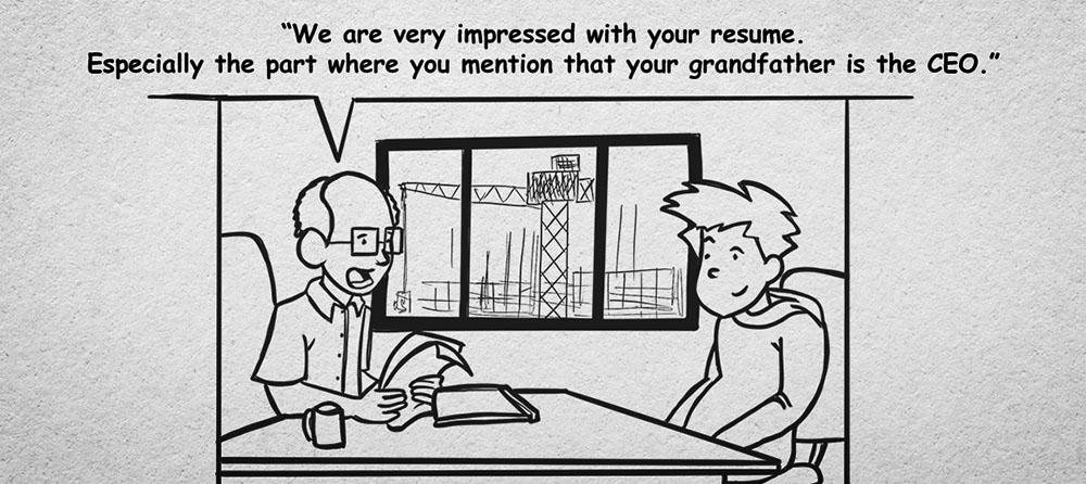 cartoon of HR manager interviewing young man with text that says: