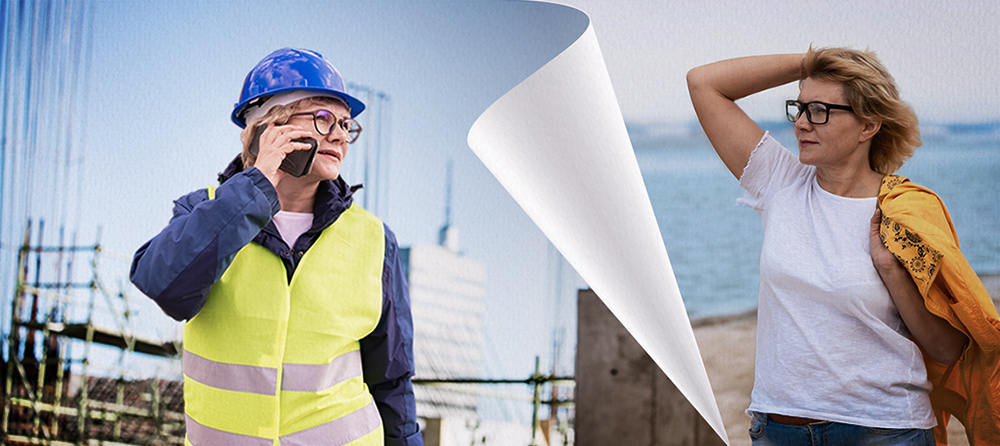 middle aged construction manager woman on the phone at a construction site with a page turning to the same woman at the beach enjoying retirement